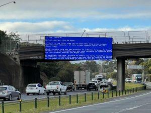 Blue screen of death on a highway billboard