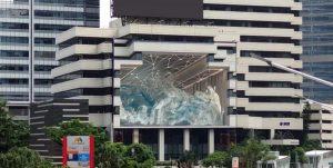 A digital billboard creating a 3D illusion