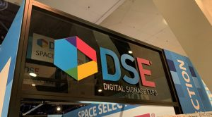 An old Digital Signage Expo banner