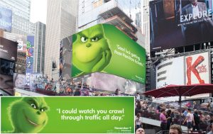 Example of humor in Out-of-Home: The Grinch ads