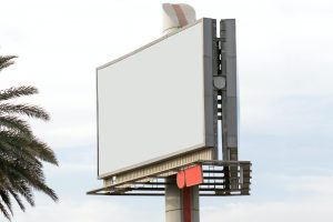 A blank billboard, an example of potentially non-conforming signs