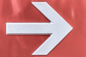 An arrow sign, a simple example of wayfinding