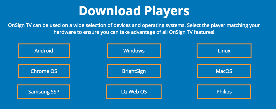 1. download onsign.tv app on device