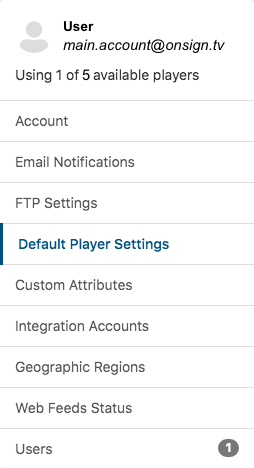 2. click on default player settings