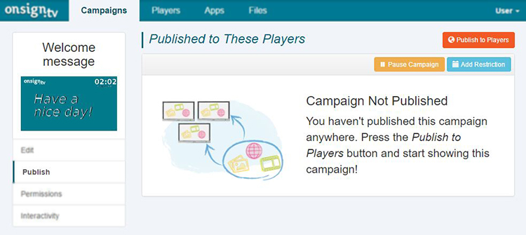 2. click on publish to player
