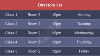 directory list table apps