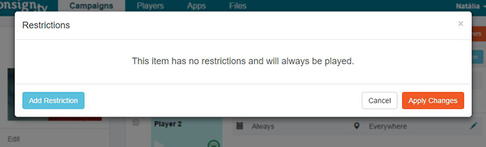 add restriction pop-up