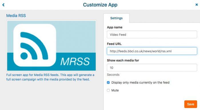 app configuration rss