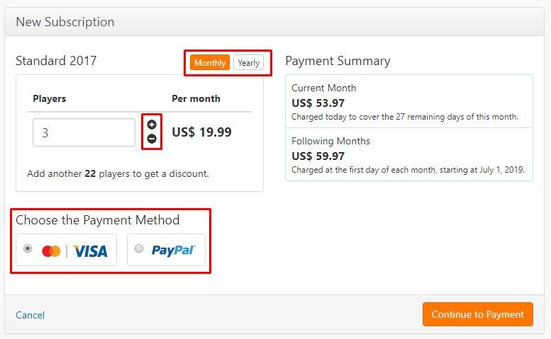 método de pagamento