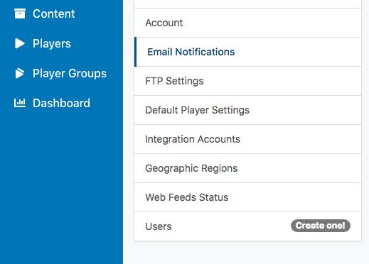 email alerts sidebar menu