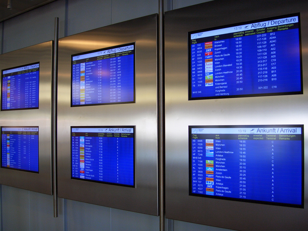 Flight schedule screens