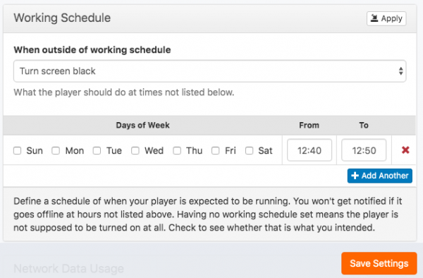 working schedule panel
